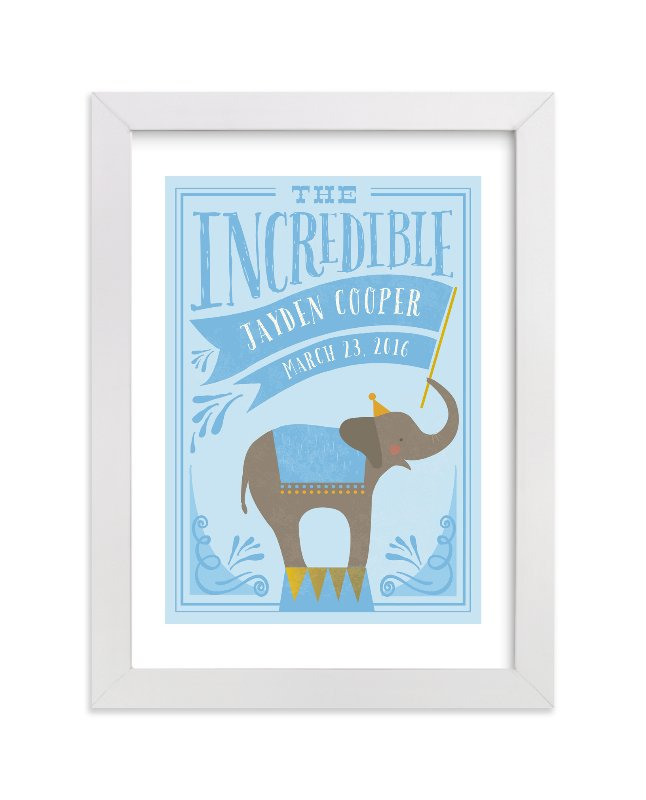 This is a blue personalized art for kid by Karidy Walker called Circus Elephant with standard.