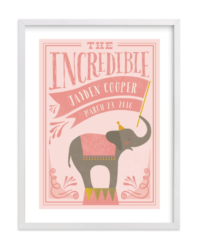 This is a pink personalized art for kid by Karidy Walker called Circus Elephant with standard.