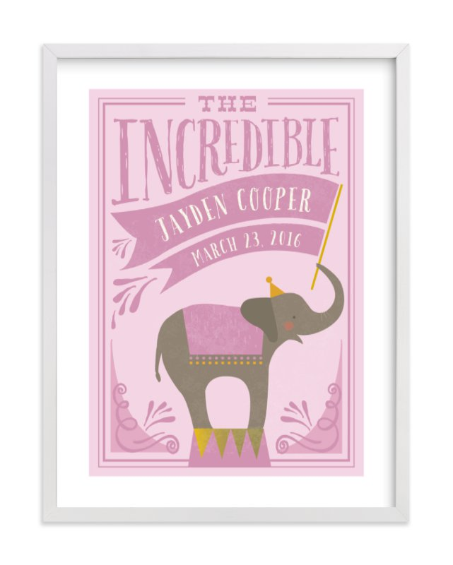This is a purple personalized art for kid by Karidy Walker called Circus Elephant with standard.