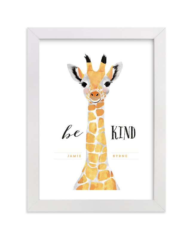 """""""baby animal.giraffe"""" - Children's Custom Art Print by Cass Loh in beautiful frame options and a variety of sizes."""
