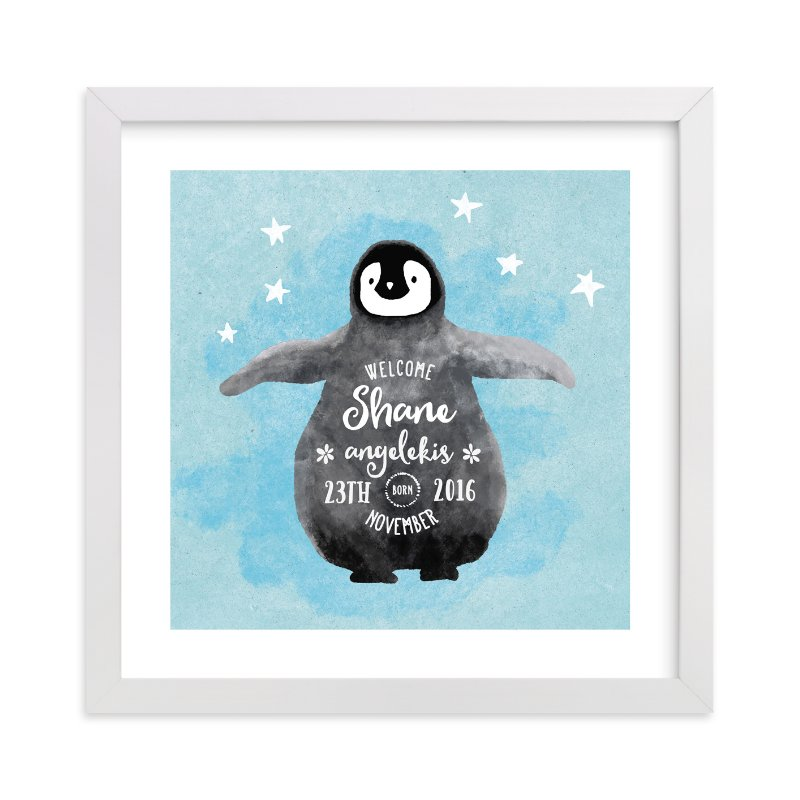 This is a blue personalized art for kid by Cass Loh called baby penguin with standard.