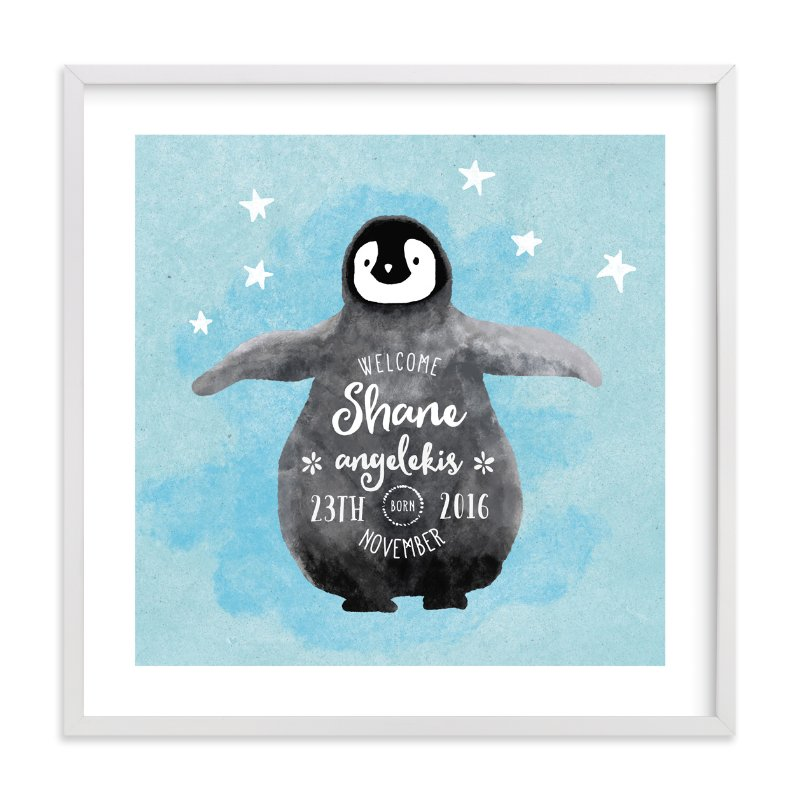 """baby penguin"" - Children's Custom Art Print by Cass Loh in beautiful frame options and a variety of sizes."