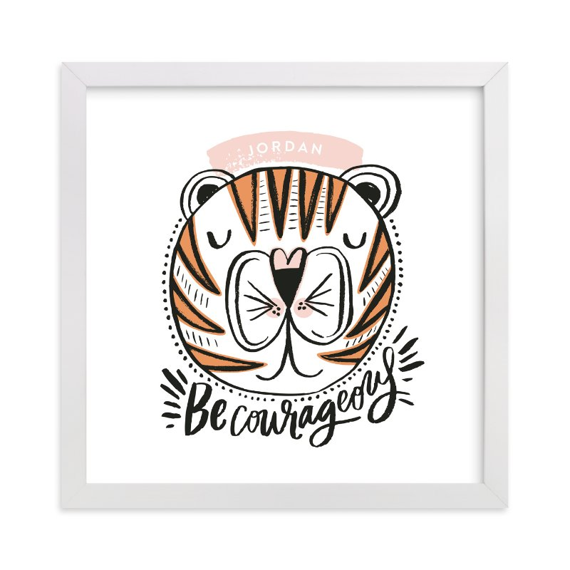 """Courageous Geo Tiger"" - Children's Custom Art Print by Alethea and Ruth in beautiful frame options and a variety of sizes."