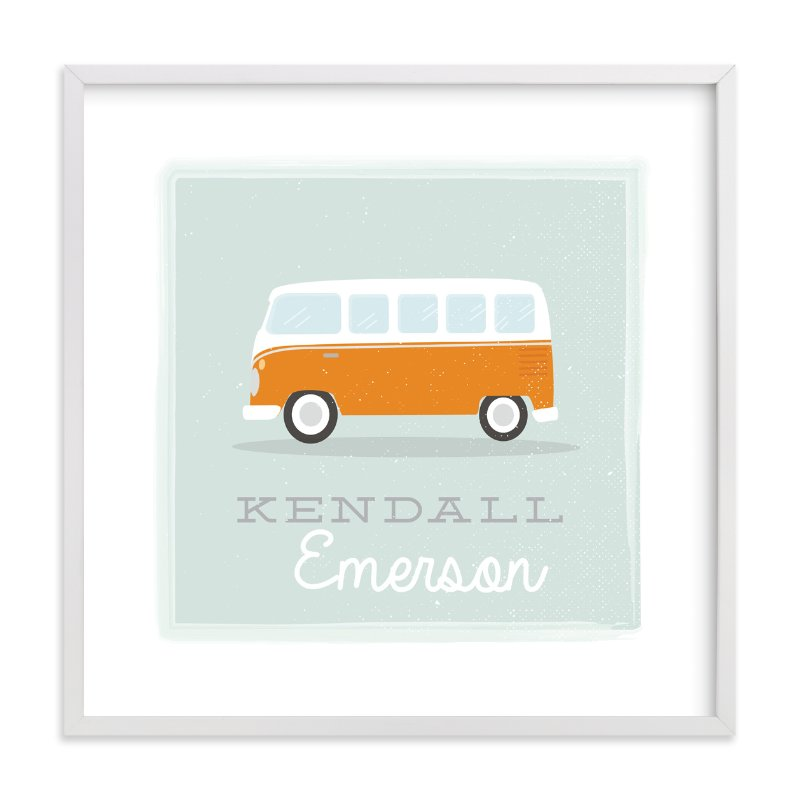 """Little Bus"" - Children's Custom Art Print by Itsy Belle Studio in beautiful frame options and a variety of sizes."