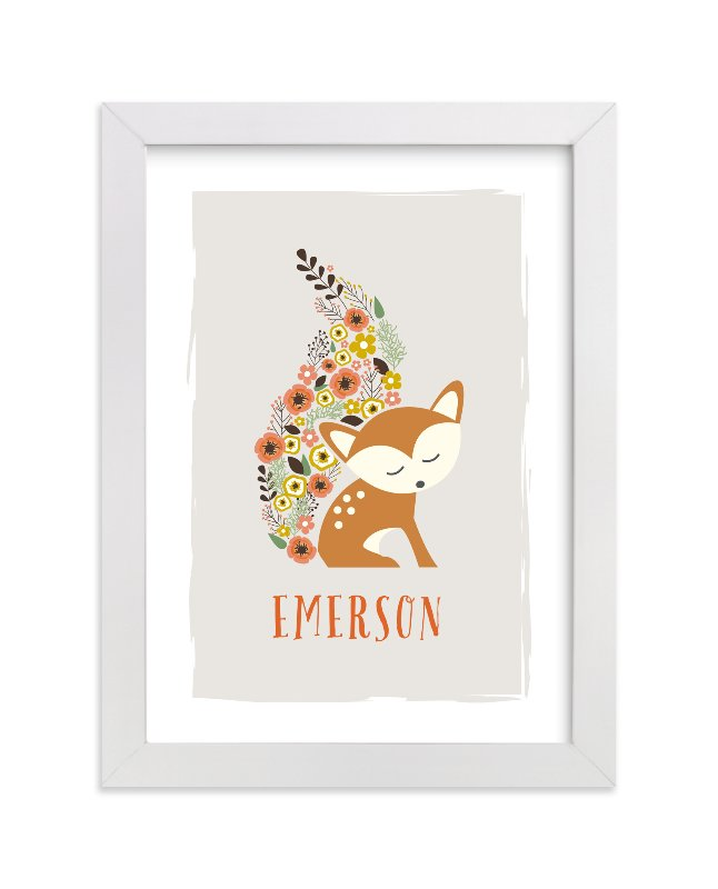 This is a grey personalized art for kid by Jennifer Postorino called Little Flower Fox with standard.