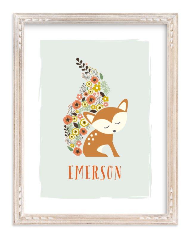 """Little Flower Fox"" - Children's Custom Art Print by Jennifer Postorino in beautiful frame options and a variety of sizes."
