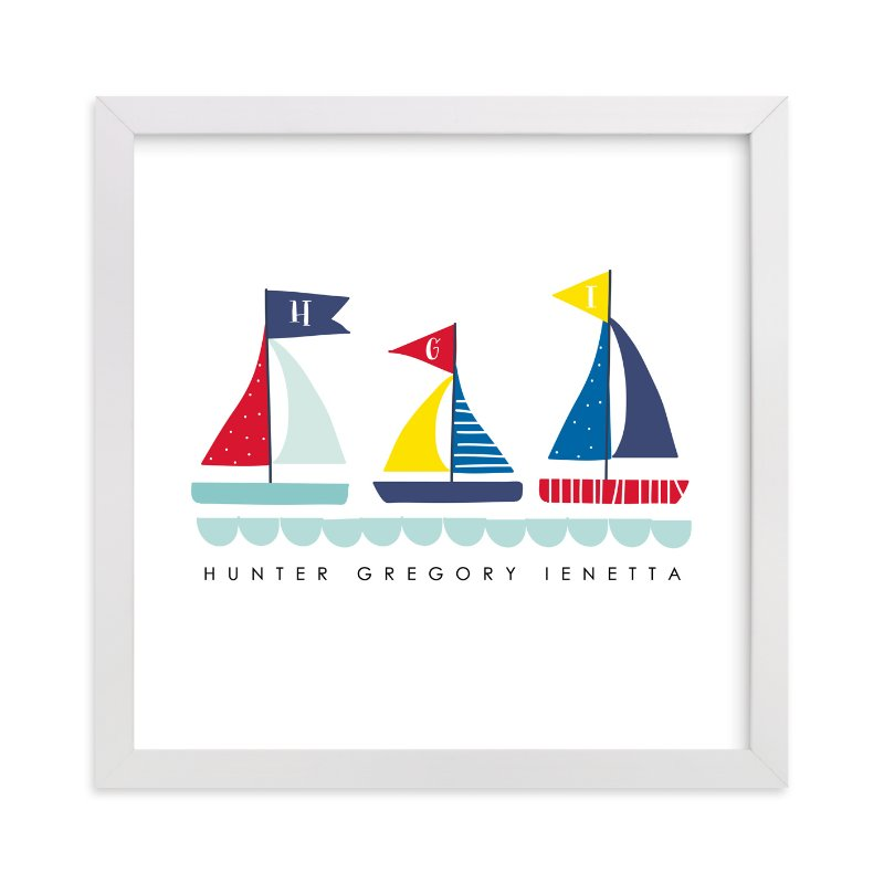 This is a blue personalized art for kid by Lisa Nelson called Sailing Away with standard.