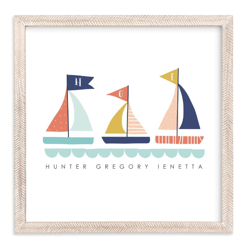 """Sailing Away"" - Children's Custom Art Print by Lisa Nelson in beautiful frame options and a variety of sizes."
