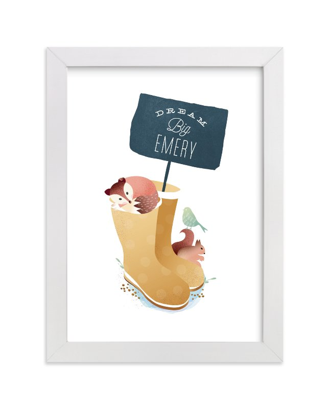"""Wellies"" - Children's Custom Art Print by Phrosne Ras in beautiful frame options and a variety of sizes."