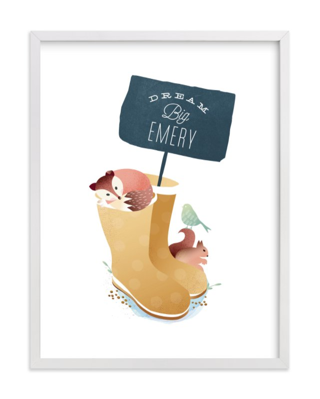 """""""Wellies"""" - Children's Custom Art Print by Phrosne Ras in beautiful frame options and a variety of sizes."""