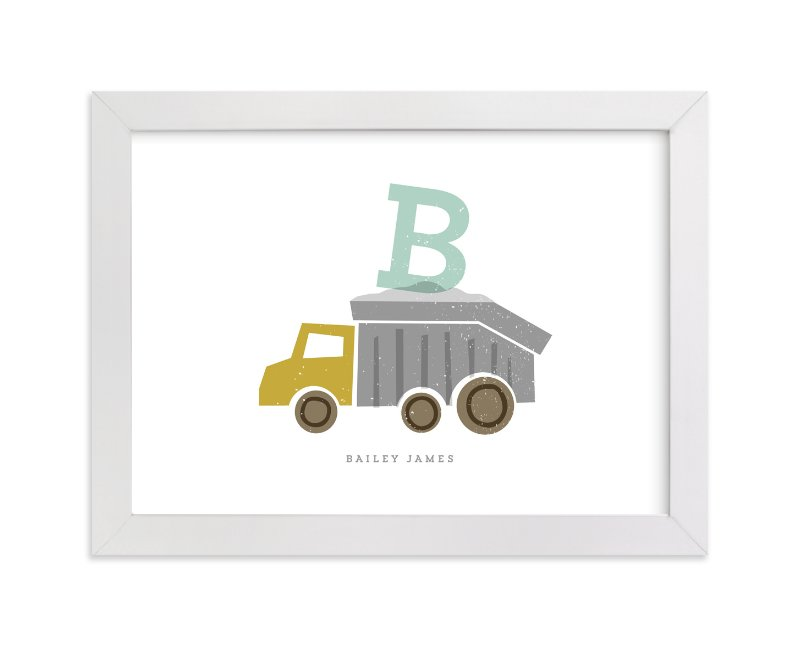 This is a gold personalized art for kid by Stacey Meacham called Alphabet truck with standard.