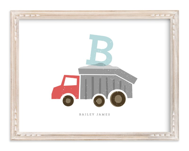 """""""Alphabet truck"""" - Children's Custom Art Print by Stacey Meacham in beautiful frame options and a variety of sizes."""