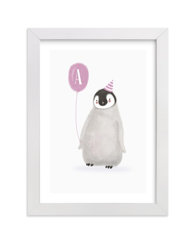 """Coolest Penguin"" - Children's Custom Art Print by Elska Studio in beautiful frame options and a variety of sizes."