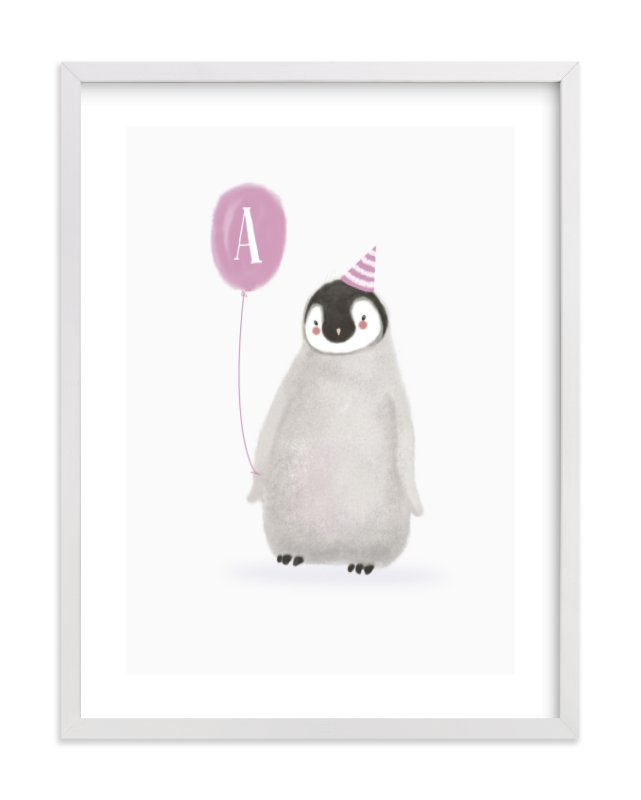 """""""Coolest Penguin"""" - Children's Custom Art Print by Elska Studio in beautiful frame options and a variety of sizes."""