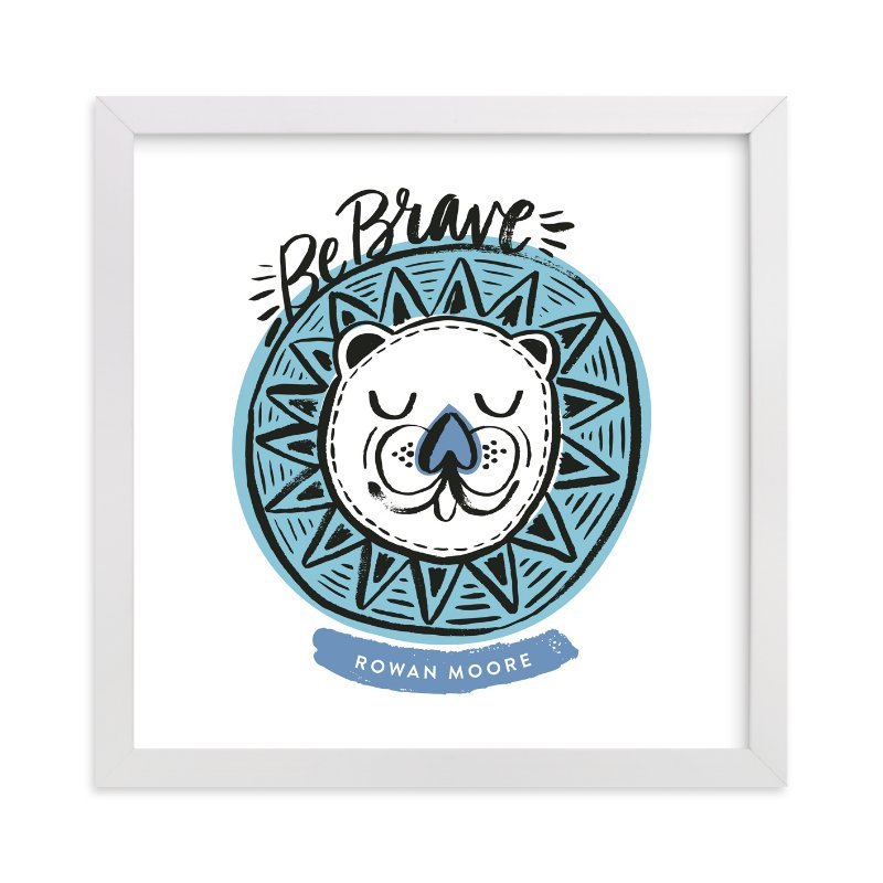 """""""Be Brave Geo Lion"""" - Children's Custom Art Print by Alethea and Ruth in beautiful frame options and a variety of sizes."""