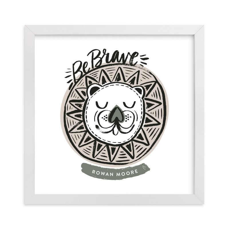 This is a grey personalized art for kid by Alethea and Ruth called Be Brave Geo Lion with standard.