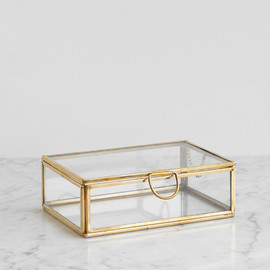 This is a gold keepsake box by Minted called Small Brass.