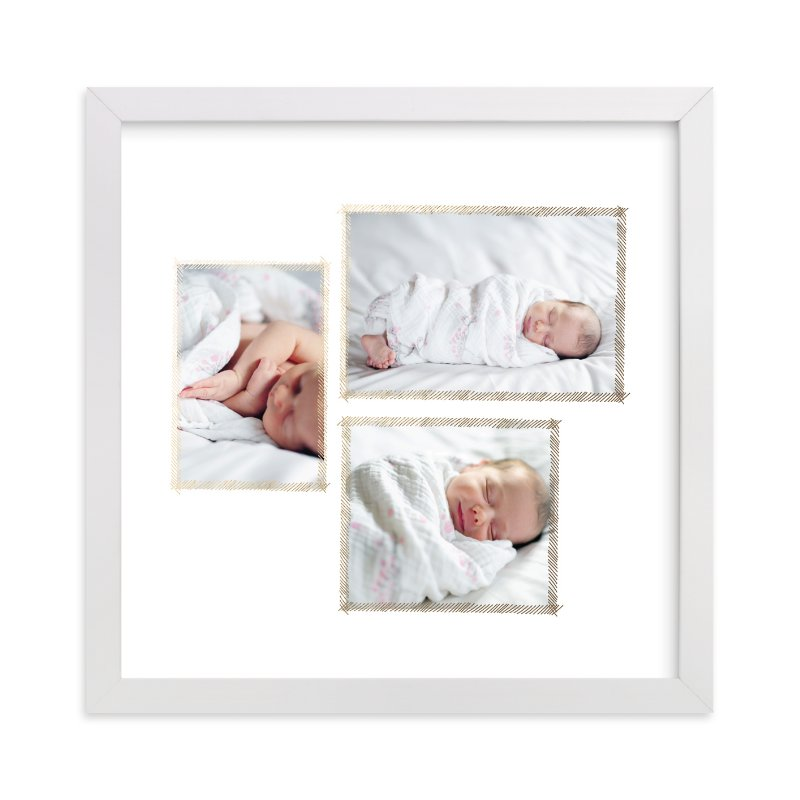 """""""Hand Sketched Trio"""" - Foil Pressed Children's Custom Photo Art Print by June Letters Studio in beautiful frame options and a variety of sizes."""
