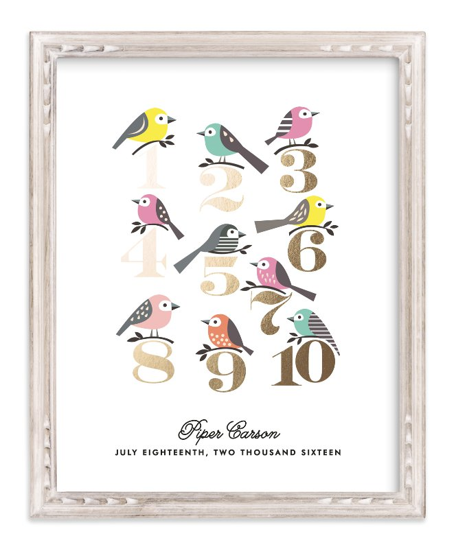 """""""Counting Birds"""" - Foil Pressed Children's Custom Photo Art Print by Karidy Walker in beautiful frame options and a variety of sizes."""