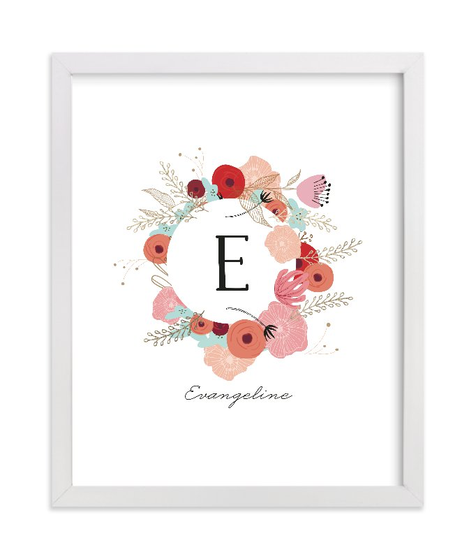 """Vintage Floral Monogram"" - Foil Pressed Children's Custom Photo Art Print by Hannah Williams in beautiful frame options and a variety of sizes."