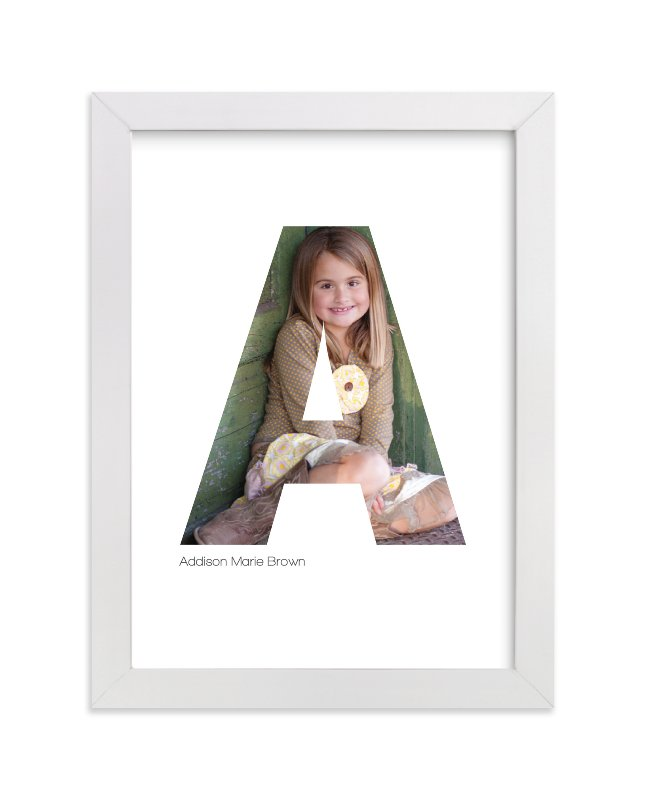 This is a white personalized art for kid by Heather Francisco called A - Within Letters of You with standard.
