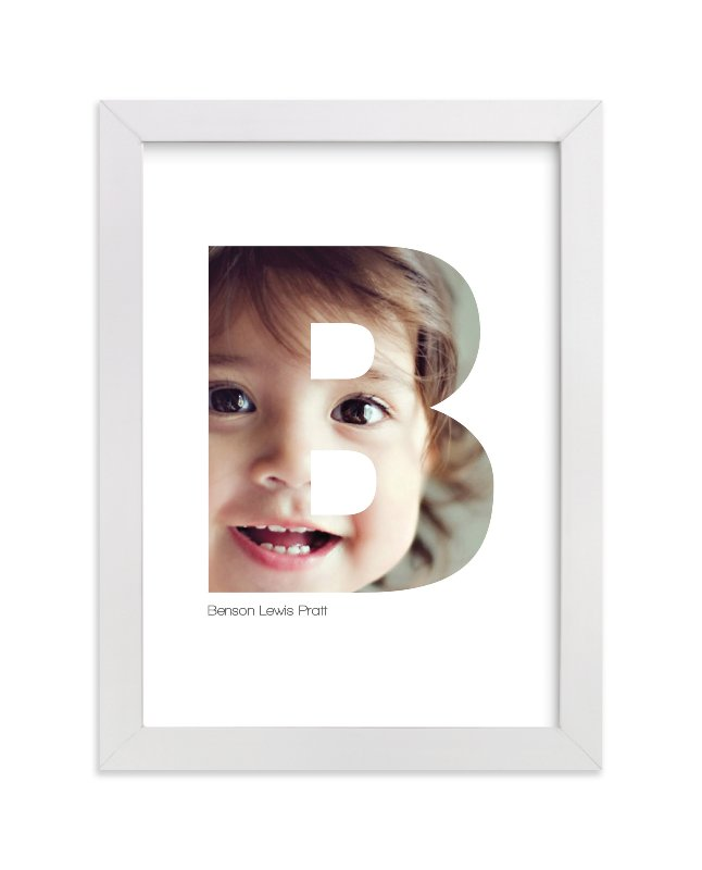 This is a white personalized art for kid by Heather Francisco called B - Within Letters of You with standard.
