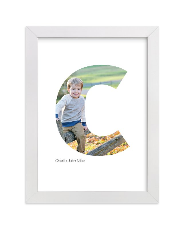 This is a white personalized art for kid by Heather Francisco called C - Within Letters of You with standard.