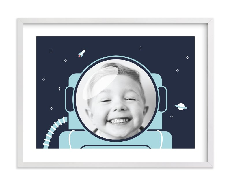 """Our little astronaut (photo)"" - Children's Custom Photo Art Print by Seven Swans in beautiful frame options and a variety of sizes."