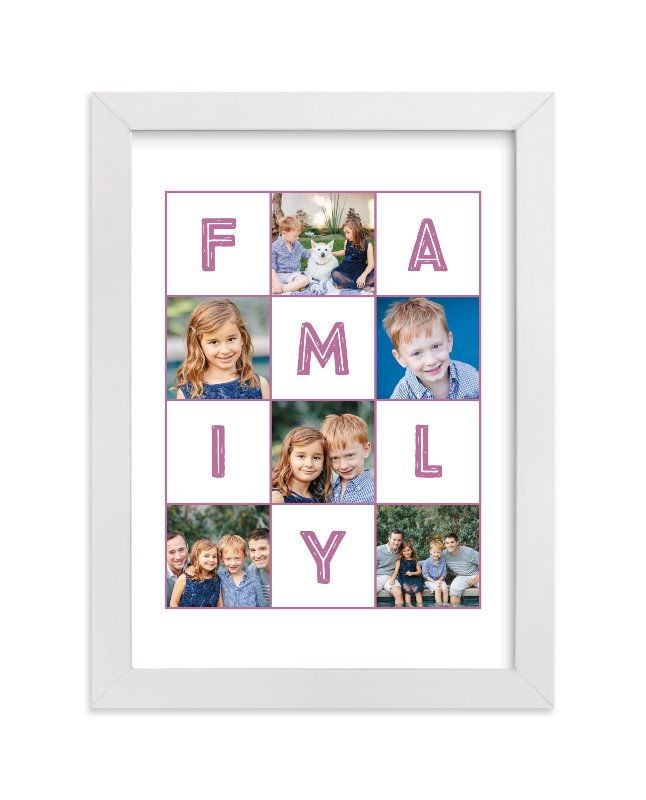 This is a purple personalized art for kid by Alexandra Dzh called Family memories with standard.