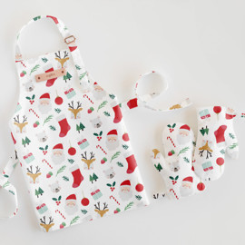 This is a red kids apron by peetie design called Sugarplum.
