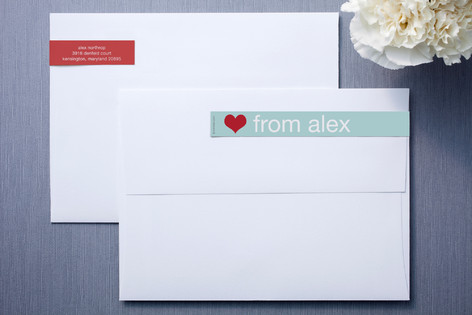 Mint and Red Skinnywrap™ Address Labels