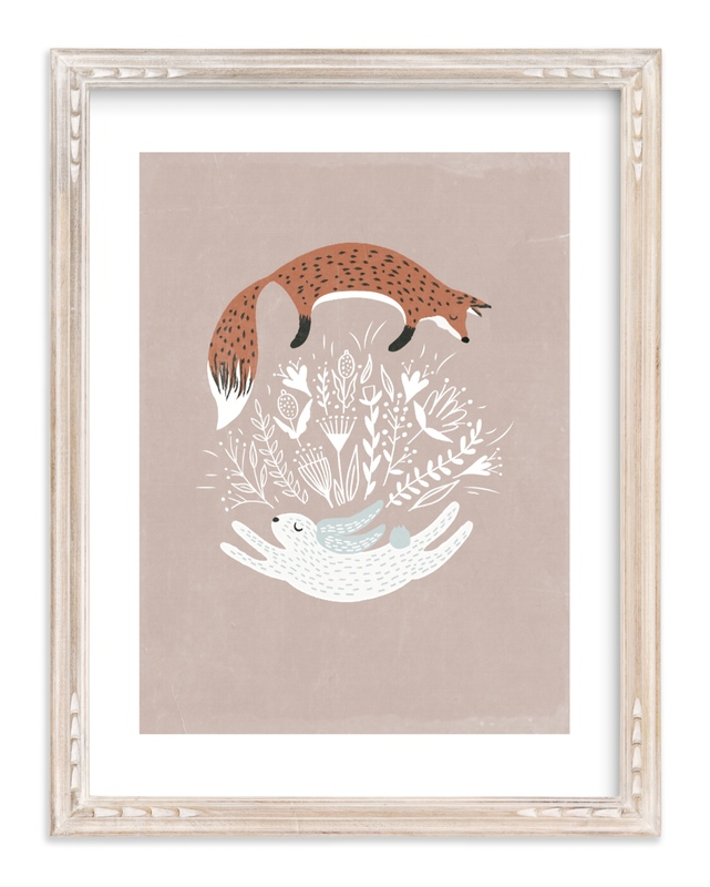 """Fox and Hare"" - Limited Edition Art Print by Hannah Williams in beautiful frame options and a variety of sizes."
