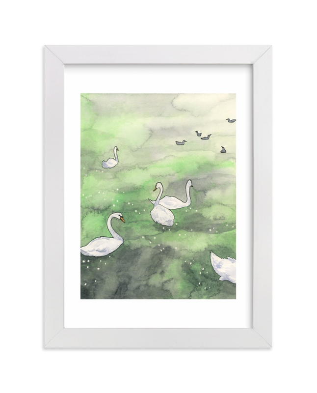 """Swans in Prague"" - Limited Edition Art Print by Natalie Groves in beautiful frame options and a variety of sizes."
