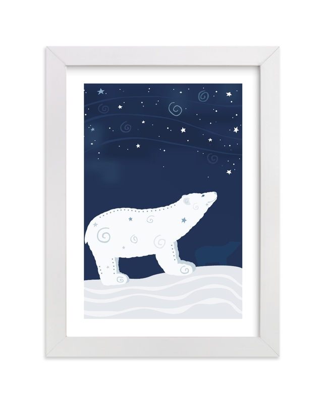 """Look at the Stars 7 Polar Bear"" - Limited Edition Art Print by Jennifer Holbrook in beautiful frame options and a variety of sizes."