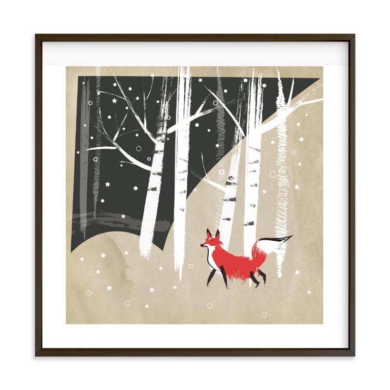 """""""Foxy Woods"""" - Limited Edition Art Print by Annie Bakst in beautiful frame options and a variety of sizes."""