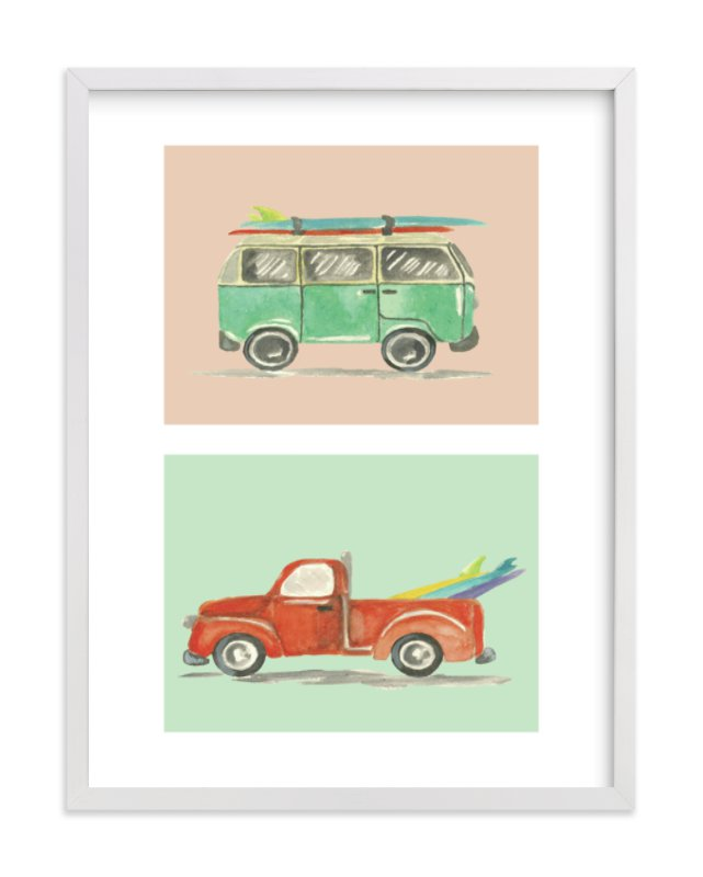 """""""Surf's Up!"""" - Limited Edition Art Print by Roxanne Fay in beautiful frame options and a variety of sizes."""