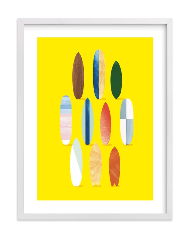 """""""Surfboard Pose"""" - Limited Edition Art Print by Baumbirdy in beautiful frame options and a variety of sizes."""