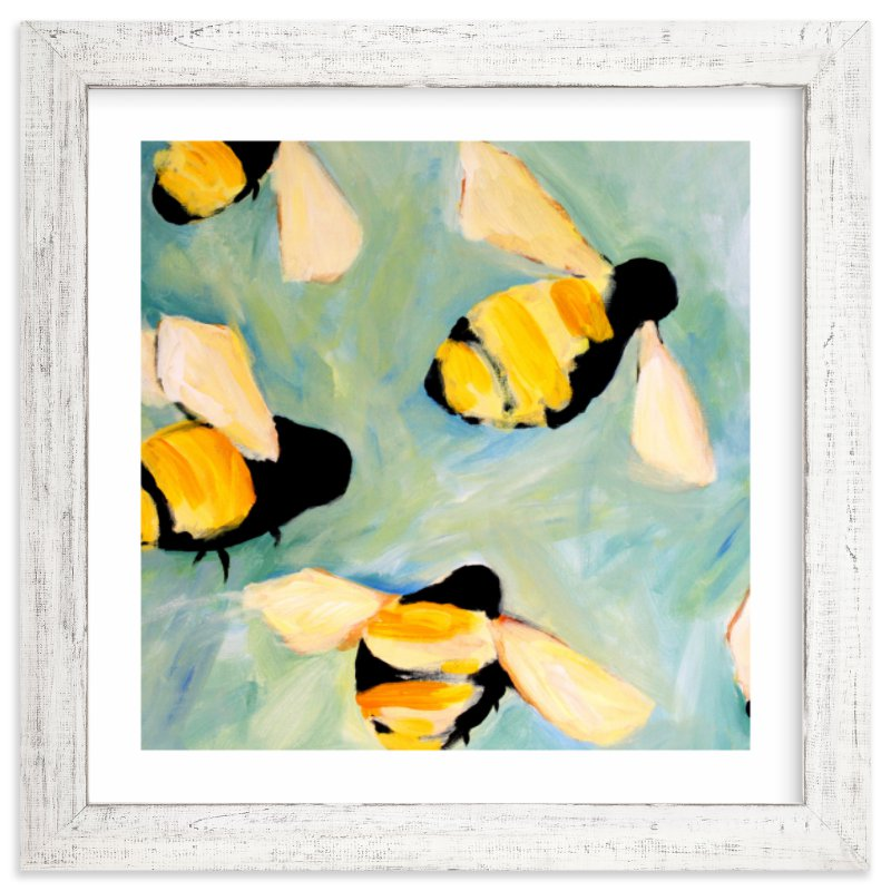 """""""Happy Bees"""" - Limited Edition Art Print by claire whitehead in beautiful frame options and a variety of sizes."""
