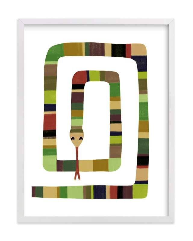 This is a brown kids wall art by Leanne Friedberg called Sssnake.