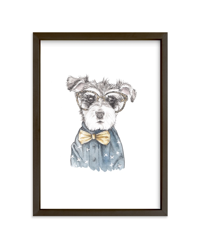 """""""Snazzy Schnauzer Mixed Media"""" - Limited Edition Art Print by Lauren Rogoff in beautiful frame options and a variety of sizes."""