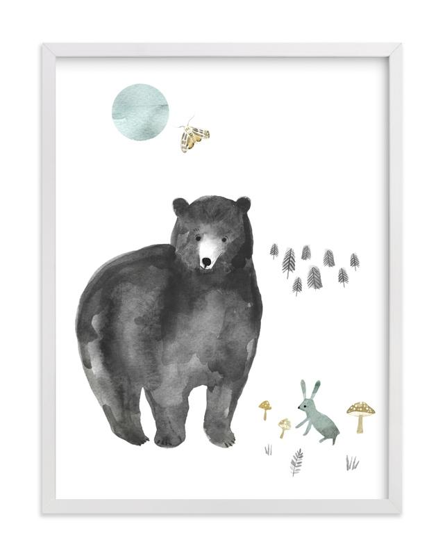 Bear and Bunny Children's Art Print