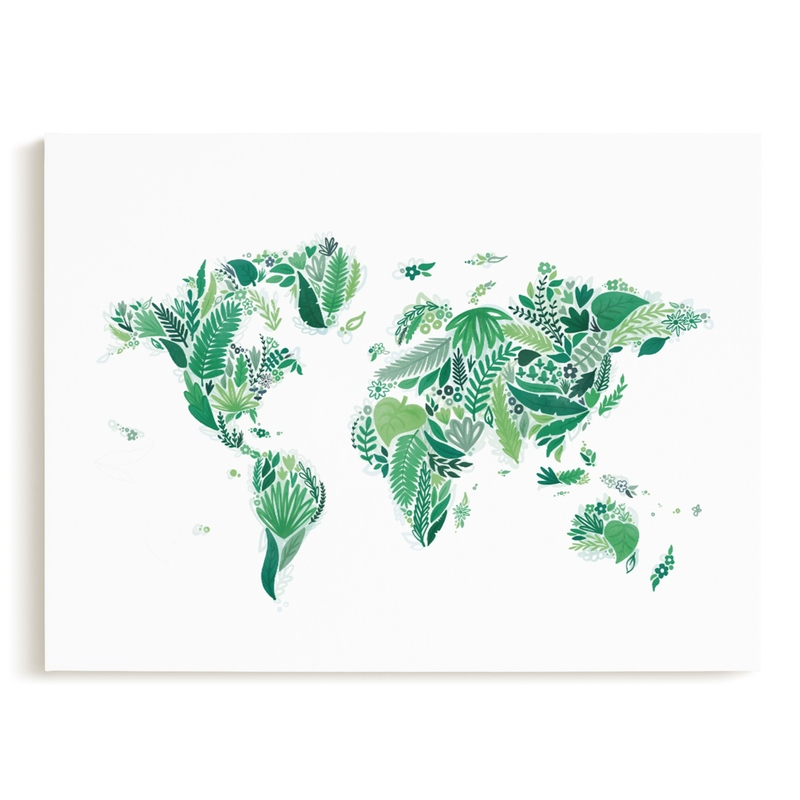 Botanical World Map Children's Art Print