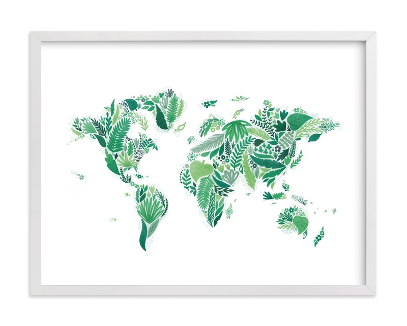 This is a white kids wall art by Jessie Steury called Botanical World Map.