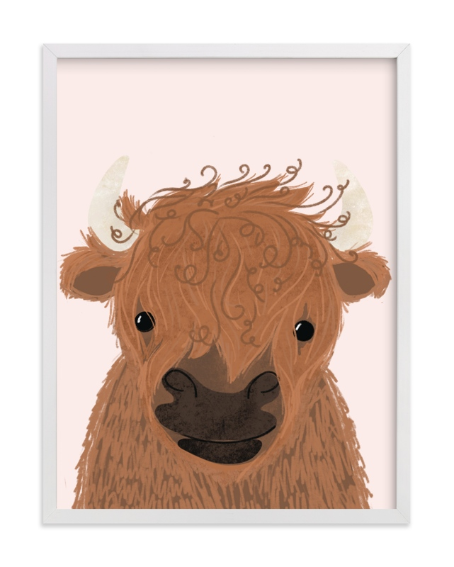This is a pink kids wall art by Itsy Belle Studio called le Yak.