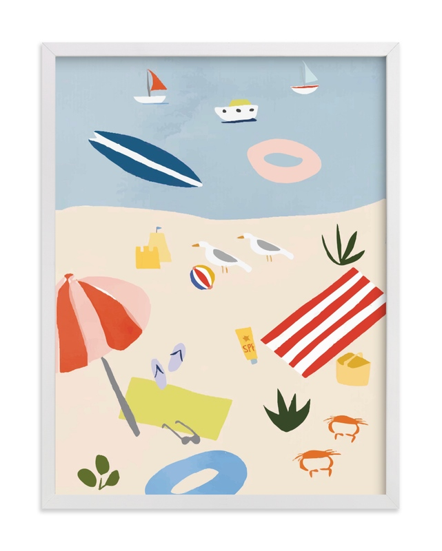 This is a colorful kids wall art by Molly Mortensen called Beach Day Scene.