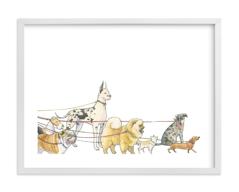 """Walking Dogs"" - Limited Edition Art Print by Natalie Groves in beautiful frame options and a variety of sizes."