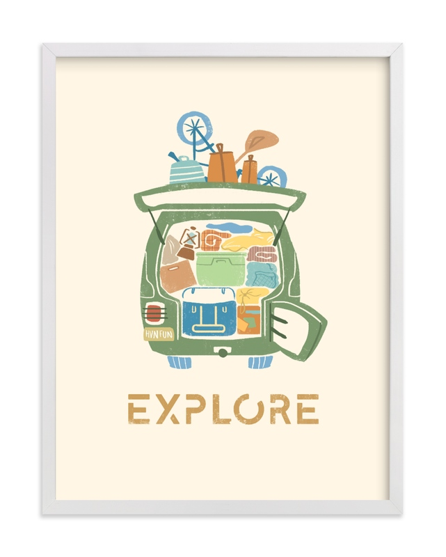 This is a blue kids wall art by Kayla Buchner called All Packed and Ready to Explore.