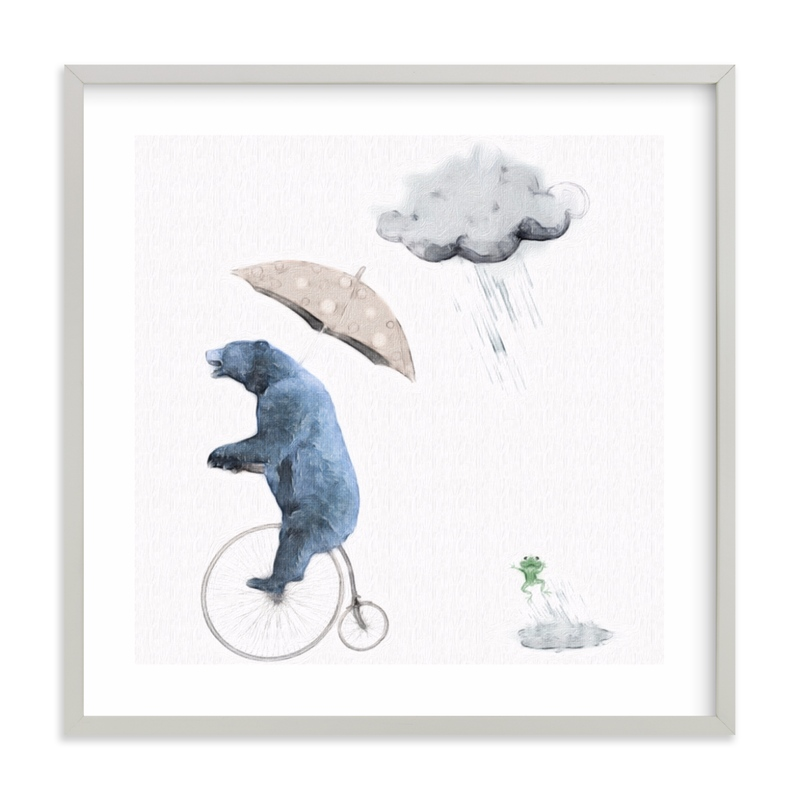 That's one fast bike, said the Cloud Children's Art Print