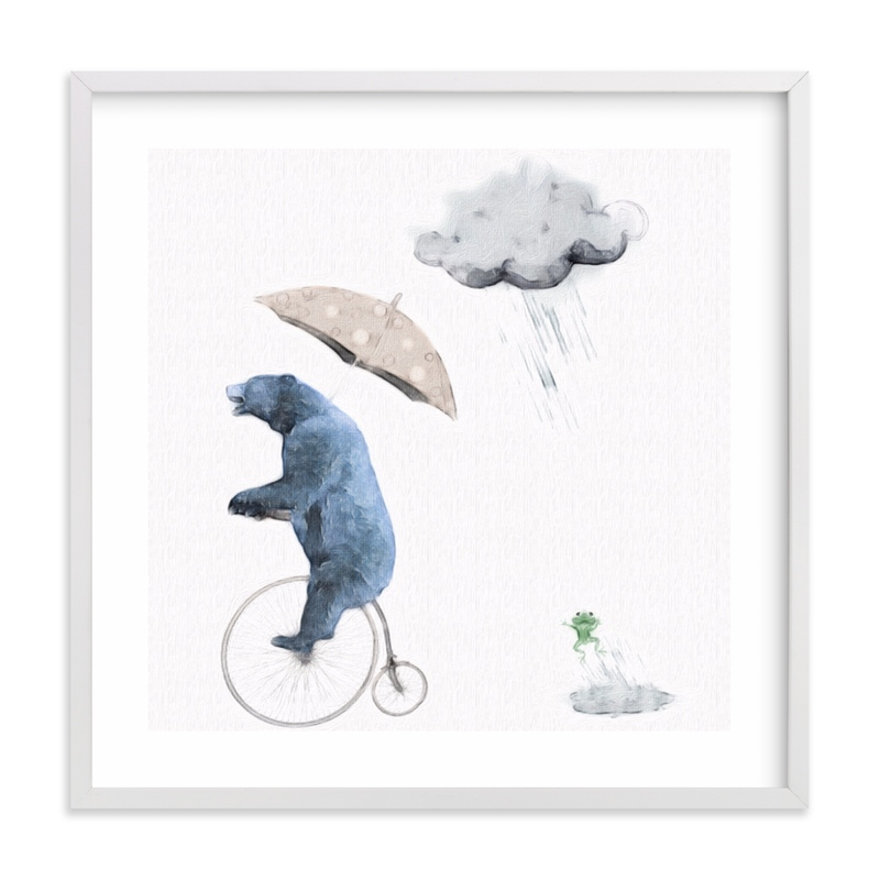 This is a blue kids wall art by Maja Cunningham called That's one fast bike, said the Cloud.