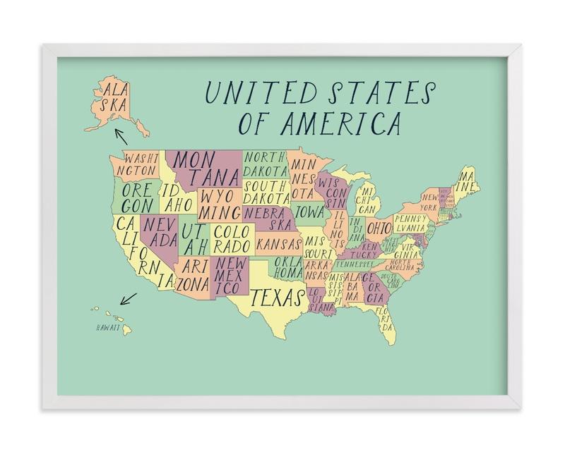 USA map Children's Art Print